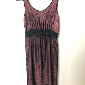 Black Sleeveless Polka Dot Mesh Dress